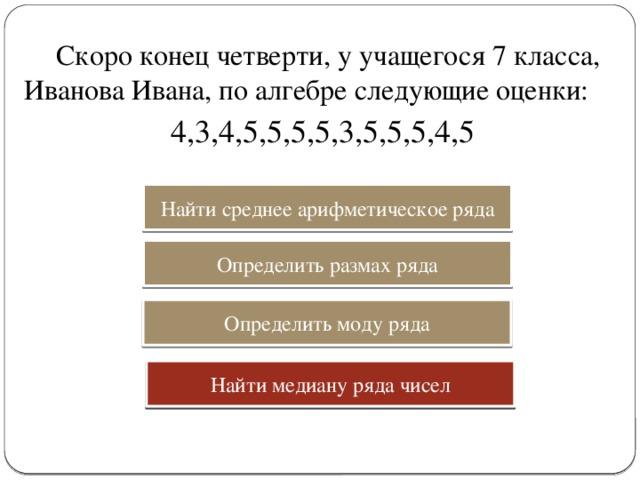 Скоро конец четверти, у учащегося 7 класса, Иванова Ивана, по алгебре следующие оценки: 4,3,4,5,5,5,5,3,5,5,5,4,5 Найти среднее арифметическое ряда Определить размах ряда Определить моду ряда Найти медиану ряда чисел Найти медиану ряда чисел