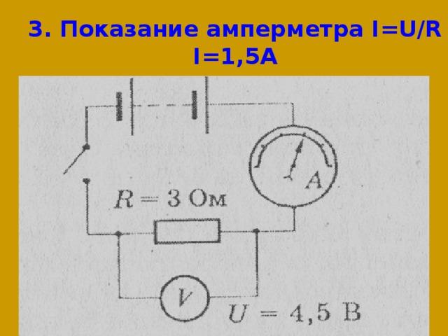3. Показание амперметра I=U/R  I=1,5A