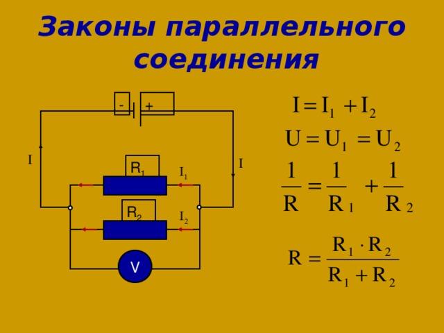Законы параллельного  соединения - + R 1 R 2 V