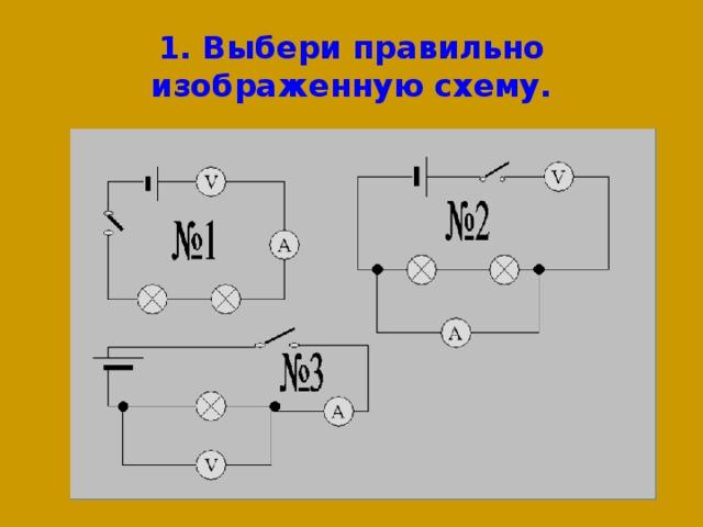 1. Выбери правильно изображенную схему.