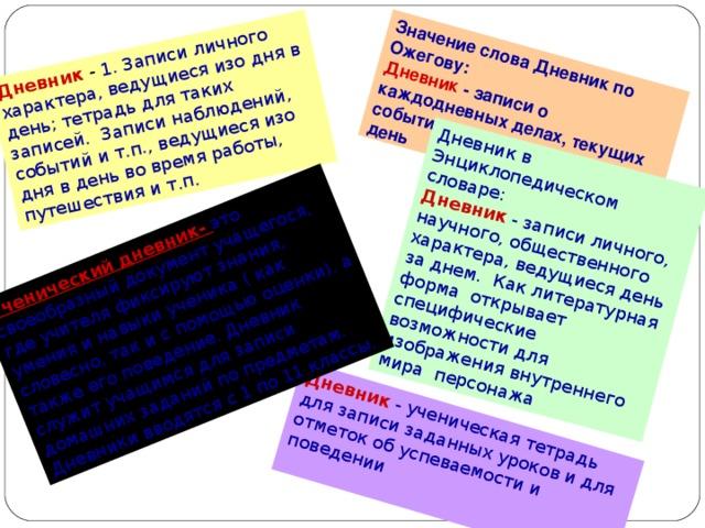 Дневник - 1. Записи личного характера, ведущиеся изо дня в день; тетрадь для таких записей. Записи наблюдений, событий и т.п., ведущиеся изо дня в день во время работы, путешествия и т.п.  Значение слова Дневник по Ожегову:  Дневник - записи о каждодневных делах, текущих событиях, ведущиеся изо дня в день Дневник  -  ученическая тетрадь для записи заданных уроков и для отметок об успеваемости и поведении   Дневник в Энциклопедическом словаре:  Дневник - записи личного, научного, общественного характера, ведущиеся день за днем. Как литературная форма открывает специфические возможности для изображения внутреннего мира персонажа Ученический дневник- это своеобразный документ учащегося, где учителя фиксируют знания, умения и навыки ученика ( как словесно, так и с помощью оценки). а также его поведение. Дневник служит учащимся для записи домашних заданий по предметам. Дневники вводятся с 1 по 11 классы.