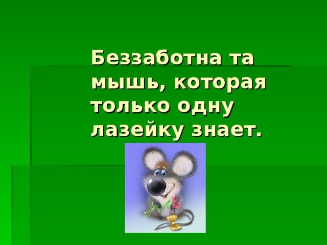 Беззаботна та мышь, которая только одну лазейку знает.