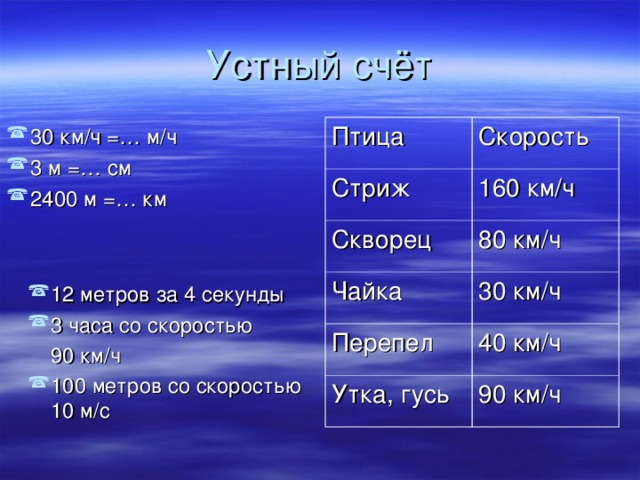 Птица Стриж Скорость 160 км/ч Скворец 80 км/ч Чайка 30 км/ч Перепел 40 км/ч Утка, гусь 90 км/ч 30 км/ч =… м/ч 3 м =… см 2400 м =… км  12 метров за 4 секунды 3 часа со скоростью  90 км/ч