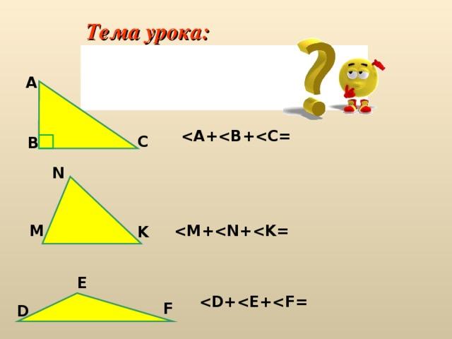 Тема урока: Сумма углов треугольника А  C B N  М K E  F D