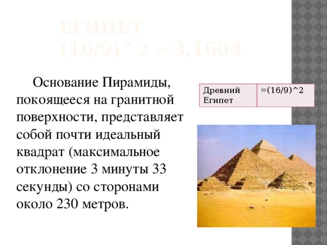 Египет  (16/9)^2  3,1604  Основание Пирамиды, покоящееся на гранитной поверхности, представляет собой почти идеальный квадрат (максимальное отклонение 3 минуты 33 секунды) со сторонами около 230 метров. Древний Египет =(16/9)^2
