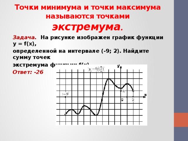 Точки минимума и точки максимума называются точками экстремума . Задача. На рисунке изображен график функции y = f(x), определенной на интервале (-9; 2). Найдите сумму точек экстремума функции f(x). Ответ: -26