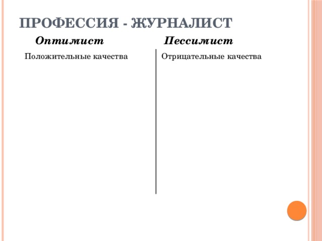 Профессия - журналист  Оптимист  Пессимист Положительные качества  Отрицательные качества