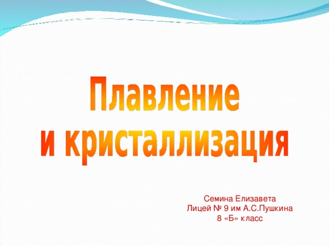 Семина Елизавета Лицей № 9 им А.С.Пушкина 8 «Б» класс