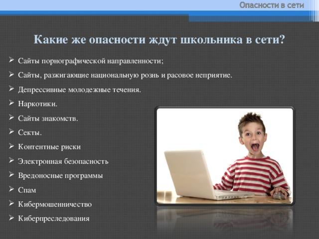 Какие же опасности ждут школьника в сети?