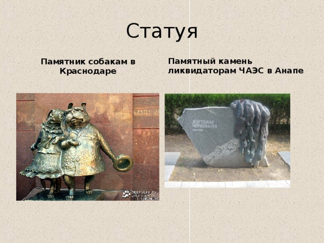 Статуя Памятник собакам в Краснодаре Памятный камень ликвидаторам ЧАЭС в Анапе