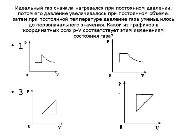 Идеальный газ сначала нагревался при постоянном давлении, потом его давление увеличивалось при постоянном объеме, затем при постоянной температуре давление газа уменьшилось до первоначального значения. Какой из графиков в координатных осях p–V соответствует этим изменениям состояния газа?