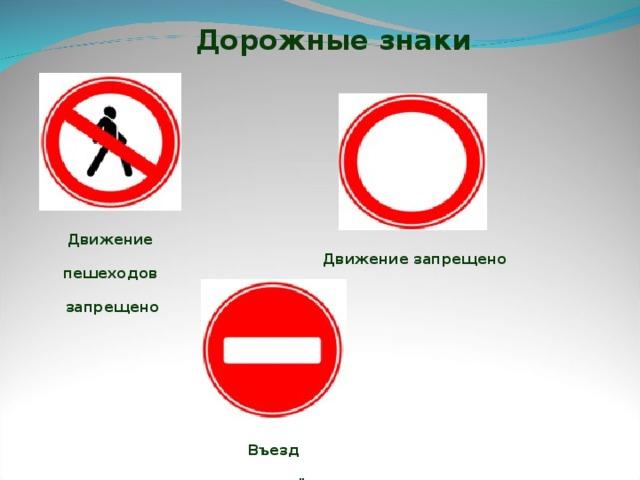 Дорожные знаки Движение пешеходов  запрещено Движение  запрещено Въезд запрещён