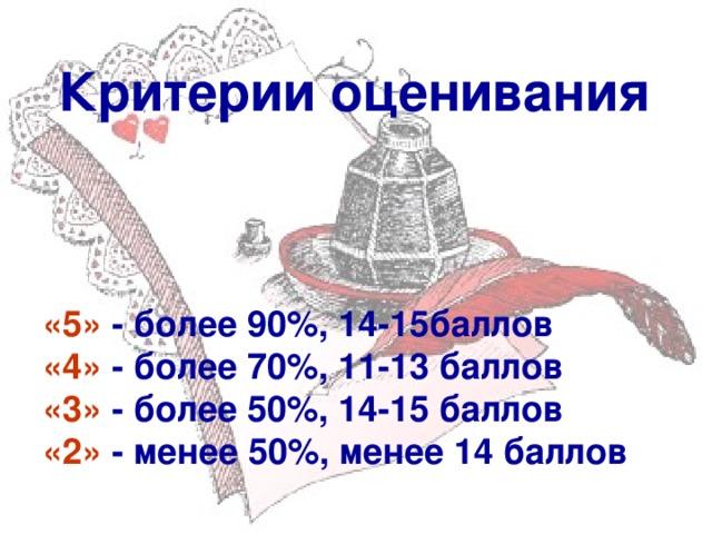 Критерии оценивания «5»  - более 90%, 14-15баллов «4»  - более 70%, 11-13 баллов «3»  - более 50%, 14-15 баллов «2»  - менее 50%, менее 14 баллов
