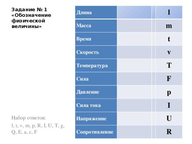 Задание № 1 «Обозначение физической величины» Длина  Масса  Время   l  Скорость Температура m    Сила t   Давление v  Сила тока  T    F Напряжение p   Сопротивление I   U  R Набор ответов: l, t, v, m, p, R, I, U, T, g, Q, E, a, c, F