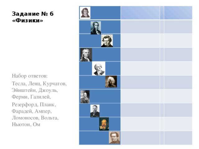 Задание № 6  «Физики»                       Набор ответов: Тесла, Ленц, Курчатов, Эйнштейн, Джоуль, Ферми, Галилей, Резерфорд, Планк, Фарадей, Ампер, Ломоносов, Вольта, Ньютон, Ом