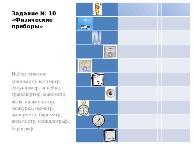 Задание № 10 «Физические приборы» Набор ответов: спидометр, ваттметр, секундомер, линейка, транспортир, манометр, весы, калькулятор, мензурка, омметр, амперметр, барометр, вольтметр, осциллограф, барограф