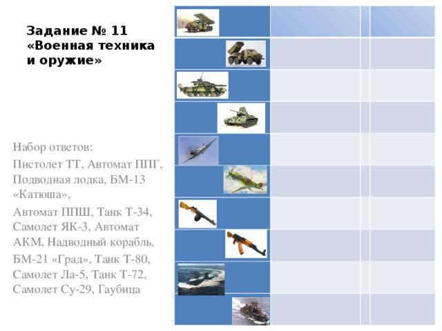 Задание № 11  «Военная техника и оружие» Набор ответов: Пистолет ТТ, Автомат ППГ, Подводная лодка, БМ-13 «Катюша», Автомат ППШ, Танк Т-34, Самолет ЯК-3, Автомат АКМ, Надводный корабль, БМ-21 «Град», Танк Т-80, Самолет Ла-5, Танк Т-72, Самолет Су-29, Гаубица