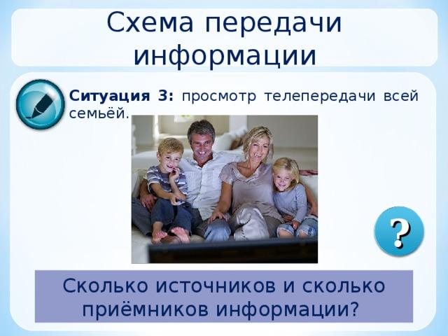 Схема передачи информации Ситуация 3:  просмотр телепередачи всей семьёй. ? Сколько источников и сколько приёмников информации?