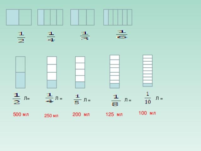 Л = Л= Л = Л = Л = 100 мл 500 мл 200 мл 125 мл 250 мл
