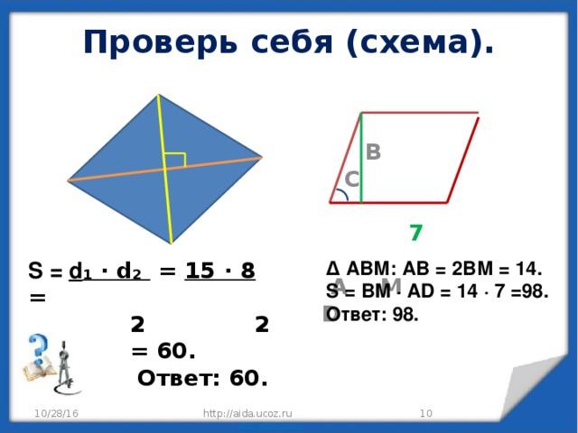 Проверь себя (cхема).    B C   7   A M D S = d ₁ ∙ d₂ = 15 ∙ 8 = ∆ АВМ: АВ = 2ВМ = 14. S = BM ∙ AD = 14 ∙ 7 =98.  2 2 Ответ: 98.  = 60.  Ответ: 60. http://aida.ucoz.ru 10/28/16