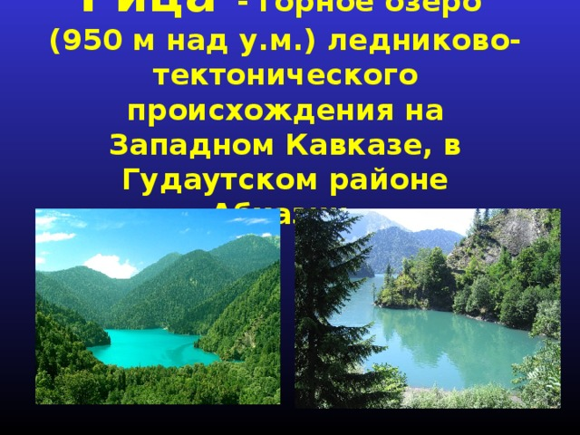 Рица - горное озеро (950 м над у.м.) ледниково-тектонического происхождения на Западном Кавказе, в Гудаутском районе Абхазии.