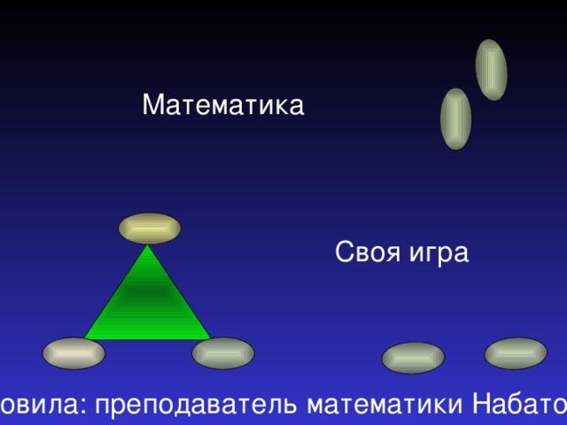 Математика Своя игра Подготовила: преподаватель математики Набатова Е.В.