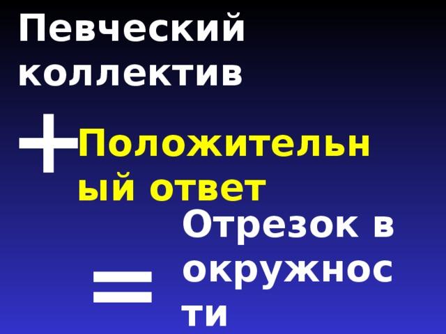 Певческий коллектив   + Положительный ответ Отрезок в окружности =