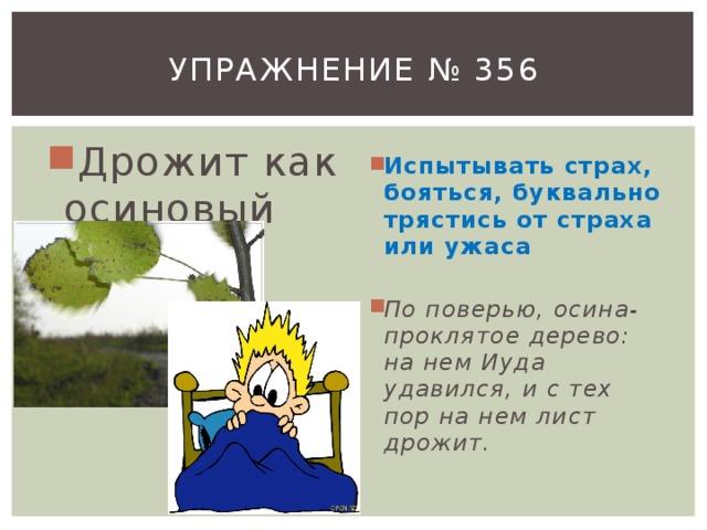 Упражнение № 356 Дрожит как осиновый лист Испытывать страх, бояться, буквально трястись от страха или ужаса