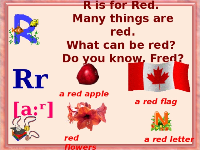R is for Red.  Many things are red.  What can be red?  Do you know, Fred? Rr  [a:ʳ]  a red apple a red flag red flowers a red letter
