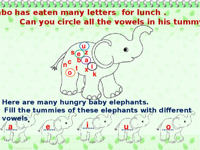 Jumbo has eaten many letters for lunch .  Can you circle all the vowels in his tummy? u z s e b a c n i t x o k Here are many hungry baby elephants.  Fill the tummies of these elephants with different vowels i a e u o