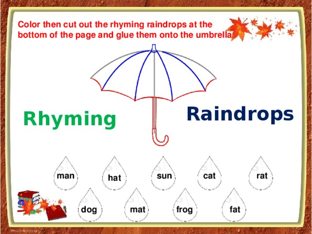 Color then cut out the rhyming raindrops at the bottom of the page and glue them onto the umbrella Raindrops Rhyming sun rat man cat hat dog mat frog fat