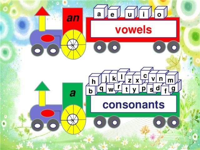 a e u i o  an vowels c l v j n k z x m h r g q d p w s t y f b a consonants