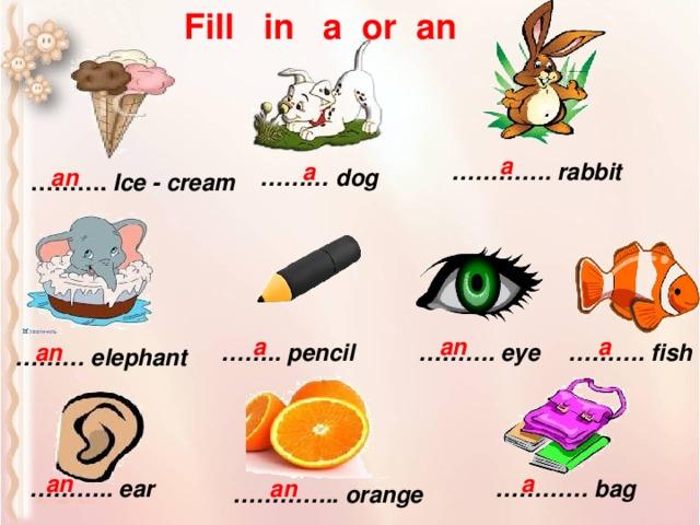 Fill in a or an a a ………… . rabbit an ……… dog ……… . Ice - cream a a an an ……… . eye ……… . fish …… .. pencil ……… elephant an a ………… bag ……… .. ear an ………… .. orange