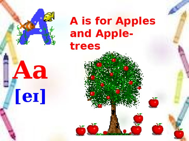 A is for Apples  and Apple-trees Aa [eɪ]