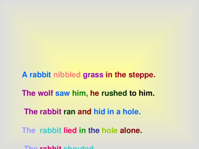 A rabbit  nibbled  grass in the steppe.    The wolf  saw  him,  he  rushed to him.    The rabbit  ran  and  hid in a hole.   The rabbit lied  in  the  hole alone.    The  rabbit  shouted .    The  wolf  was frightened  and  ran away.    Animals,  come here, come up to me.