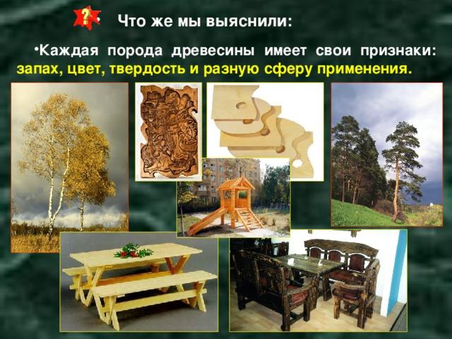 Что же мы выяснили:   Каждая порода древесины имеет свои признаки: запах, цвет, твердость и разную сферу применения.