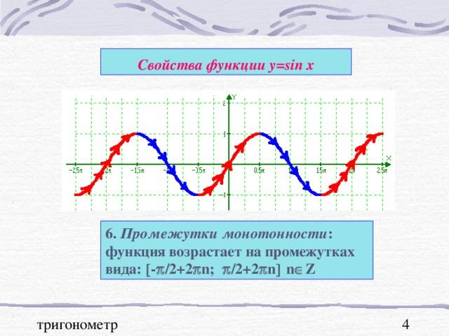 Свойства функции у= sin x 6. Промежутки монотонности : функция возрастает на промежутках вида:  -  /2 +2  n ;   / 2+2  n   n  Z