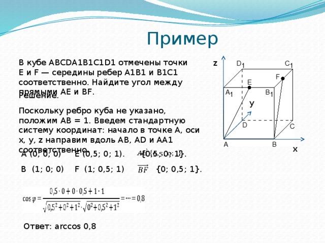Пример z В кубе ABCDA1B1C1D1 отмечены точки E и F — середины ребер A1B1 и B1C1 соответственно. Найдите угол между прямыми AE и BF. Решение. y Поскольку ребро куба не указано, положим AB = 1. Введем стандартную систему координат: начало в точке A, оси x, y, z направим вдоль AB, AD и AA1 соответственно. x  A (0; 0; 0)  {0,5; 0; 1}.  E (0,5; 0; 1). B (1; 0; 0)  F (1; 0,5; 1)  {0; 0,5; 1}. Ответ: arccos 0,8