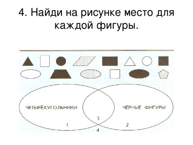 4. Найди на рисунке место для каждой фигуры.