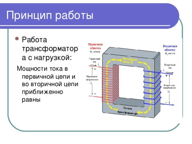 Принцип работы Работа трансформатора с нагрузкой:  Мощности тока в первичной цепи и во вторичной цепи приближенно равны
