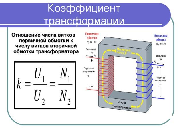 Коэффициент трансформации  Отношение числа витков первичной обмотки к числу витков вторичной обмотки трансформатора