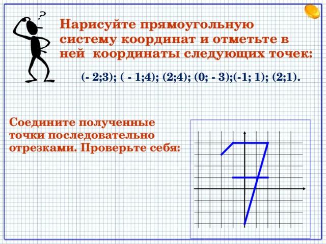 Нарисуйте прямоугольную систему координат и отметьте в ней координаты следующих точек:  (- 2;3); ( - 1;4); (2;4); (0; - 3);(-1; 1); (2;1).  Соедините полученные точки последовательно отрезками. Проверьте себя: 7