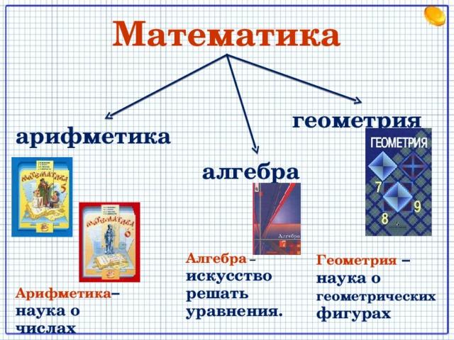 Математика геометрия арифметика алгебра Геометрия  – наука о геометрических фигурах Алгебра  – искусство решать уравнения. Арифметика – наука о числах 8