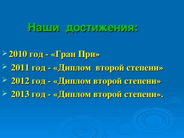 Наши достижения:     2010 год - «Гран При»  2011 год - «Диплом второй степени»  2012 год - «Диплом второй степени»  2013 год - «Диплом второй степени».