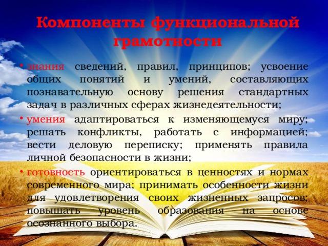 Компоненты функциональной грамотности