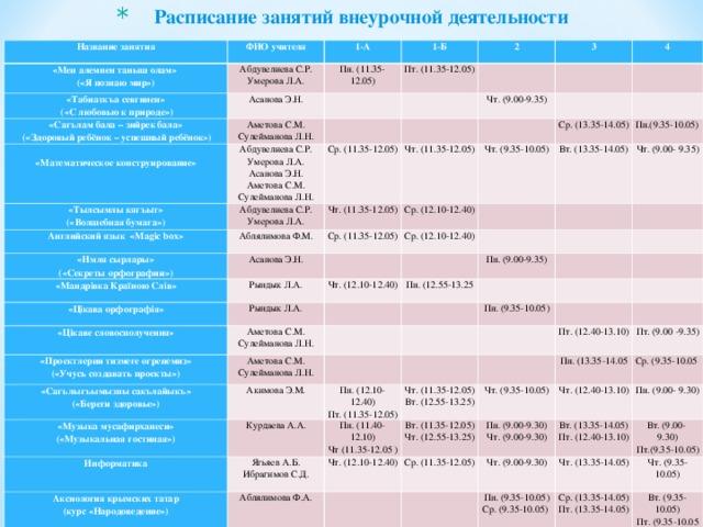 Расписание занятий внеурочной деятельности