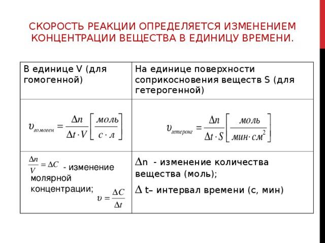 СКОРОСТЬ РЕАКЦИИ ОПРЕДЕЛЯЕТСЯ ИЗМЕНЕНИЕМ КОНЦЕНТРАЦИИ ВЕЩЕСТВА В ЕДИНИЦУ ВРЕМЕНИ. В единице V (для гомогенной) На единице поверхности соприкосновения веществ S (для гетерогенной)  n - изменение количества вещества (моль);   t– интервал времени (с, мин)  - изменение молярной концентрации;