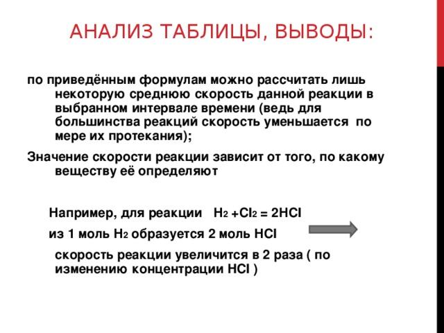 АНАЛИЗ ТАБЛИЦЫ, ВЫВОДЫ: по приведённым формулам можно рассчитать лишь некоторую среднюю скорость данной реакции в выбранном интервале времени (ведь для большинства реакций скорость уменьшается по мере их протекания); Значение скорости реакции зависит от того, по какому веществу её определяют  Например, для реакции Н 2 +CI 2 = 2НCI  из 1 моль Н 2 образуется 2 моль НCI  скорость реакции увеличится в 2 раза ( по изменению концентрации HCI )
