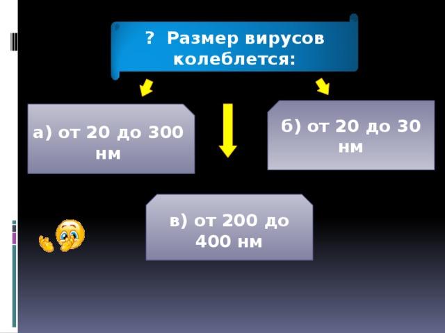 ? Размер вирусов колеблется: б) от 20 до 30 нм а) от 20 до 300 нм в) от 200 до 400 нм