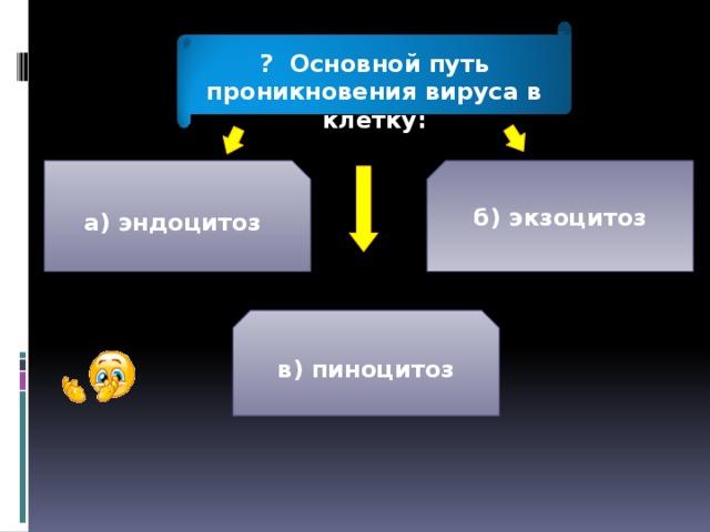 ? Основной путь проникновения вируса в клетку: а)  эндоцитоз б) экзоцитоз в) пиноцитоз